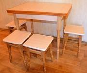 Кухонный комплект (стол + 4 табурета,  цвет: Дуб Молочный)